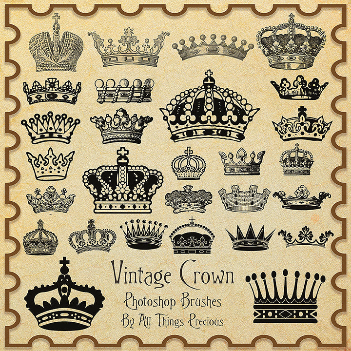 PHOTOSHOP BRUSHES - Vintage Crowns - FREE DOWNLOAD