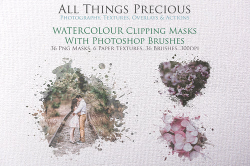 WATERCOLOUR CLIPPING MASKS With PHOTOSHOP BRUSHES Digital OVERLAYS