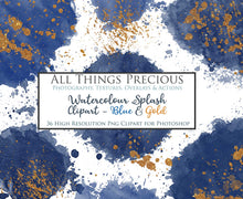 Load image into Gallery viewer, WATERCOLOUR SPLASH & SPLATTER - Gold & Blue - Clipart