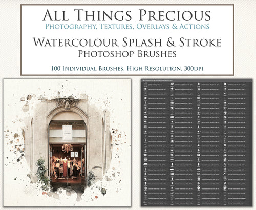 100 WATERCOLOUR SPLASH & PAINT Photoshop Brushes