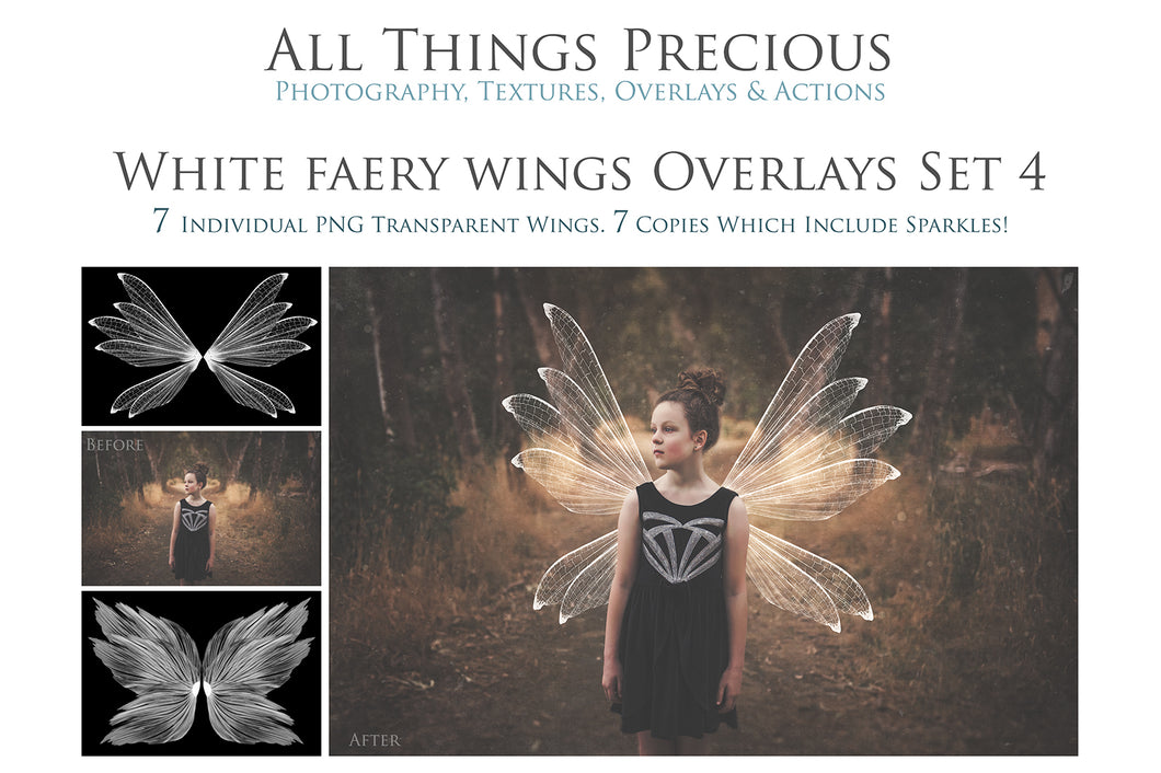 14 Png WHITE FAIRY WING Overlays Set 4