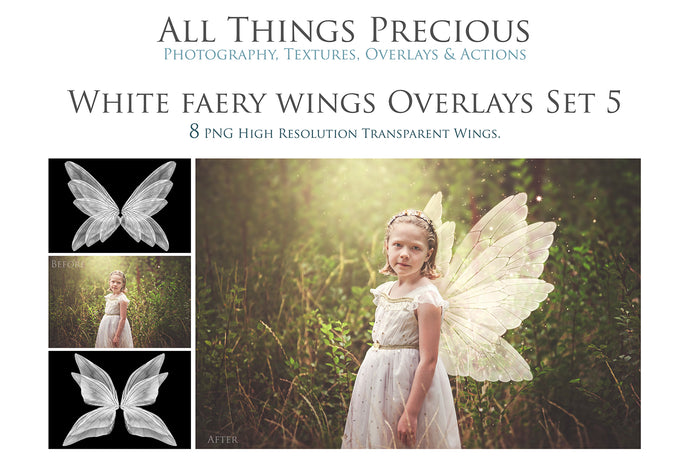 8 Png WHITE FAIRY WING Overlays Set 5
