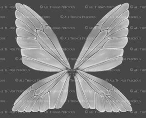 8 Png WHITE FAIRY WING Overlays Set 6