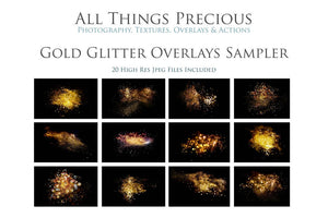 20 GOLD GLITTER Digital Overlays