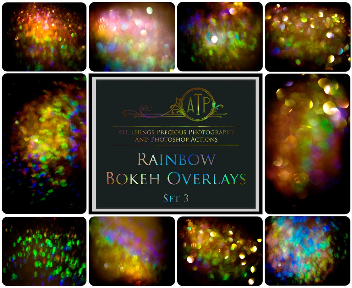10 RAINBOW BOKEH Overlays Set 3