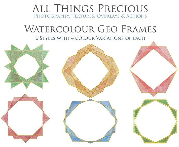 30 PNG WATERCOLOUR / GOLD Geo Frames - Clipart