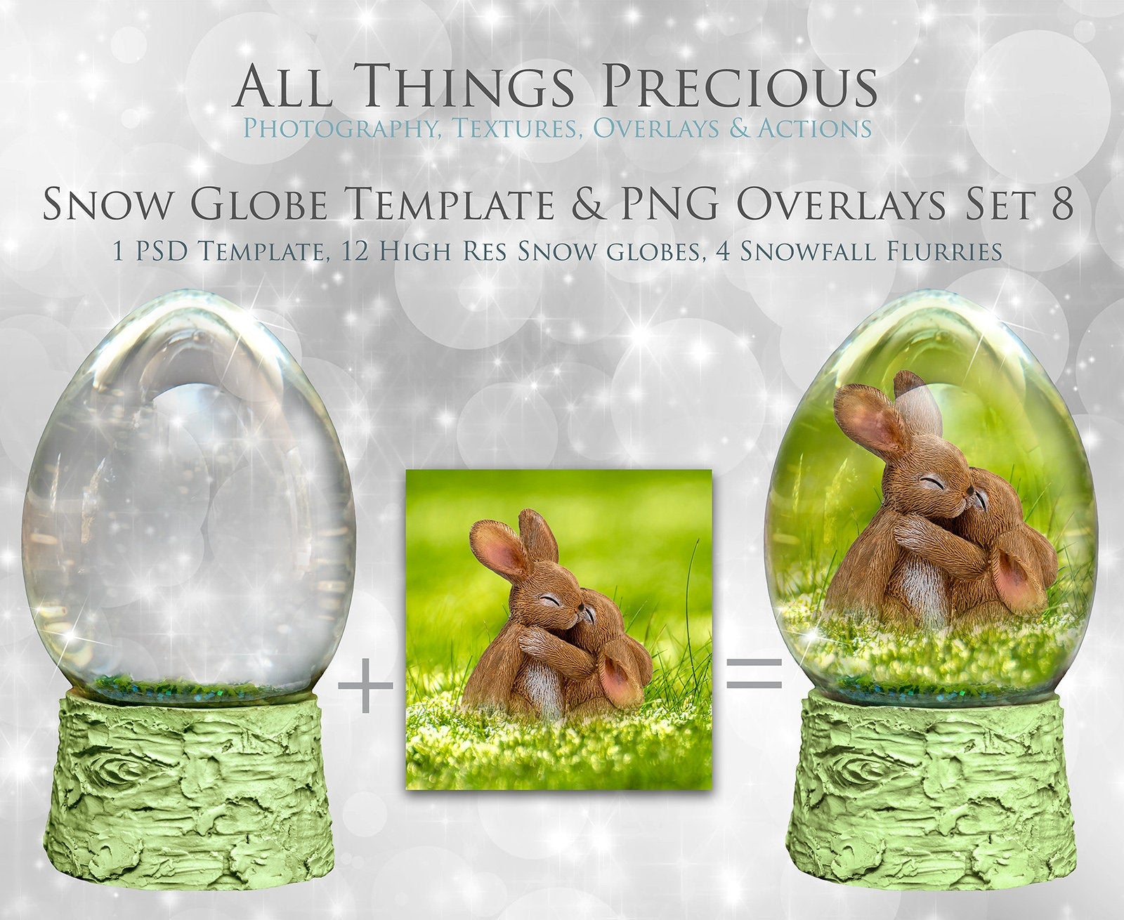 SNOW GLOBE Png Digital Overlays and PSD Template No.8