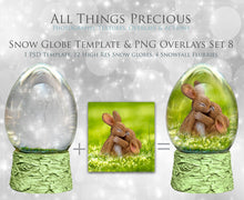Load image into Gallery viewer, SNOW GLOBE Png Digital Overlays and PSD Template No.8