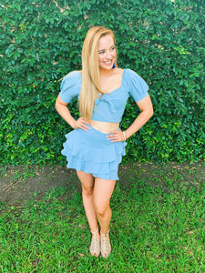 Ready For The Fun Ruffled Skirt Set - Blue