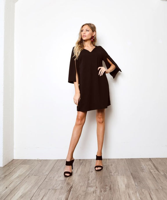 Black Slit Sleeve Mini Dress