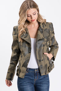 Moto Camo Leather Jacket