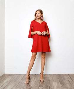 Red Slit Open Sleeve Mini Dress