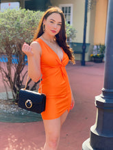 Load image into Gallery viewer, Twisted Neon Orange Mini Dress