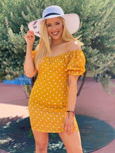 Load image into Gallery viewer, Vacay Mode In Mustard + Polka Dot Mini Dress