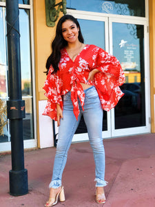Red Tropical Crop Blouse