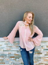 Load image into Gallery viewer, Blushin' In Lace - Long Sleeve Blouse
