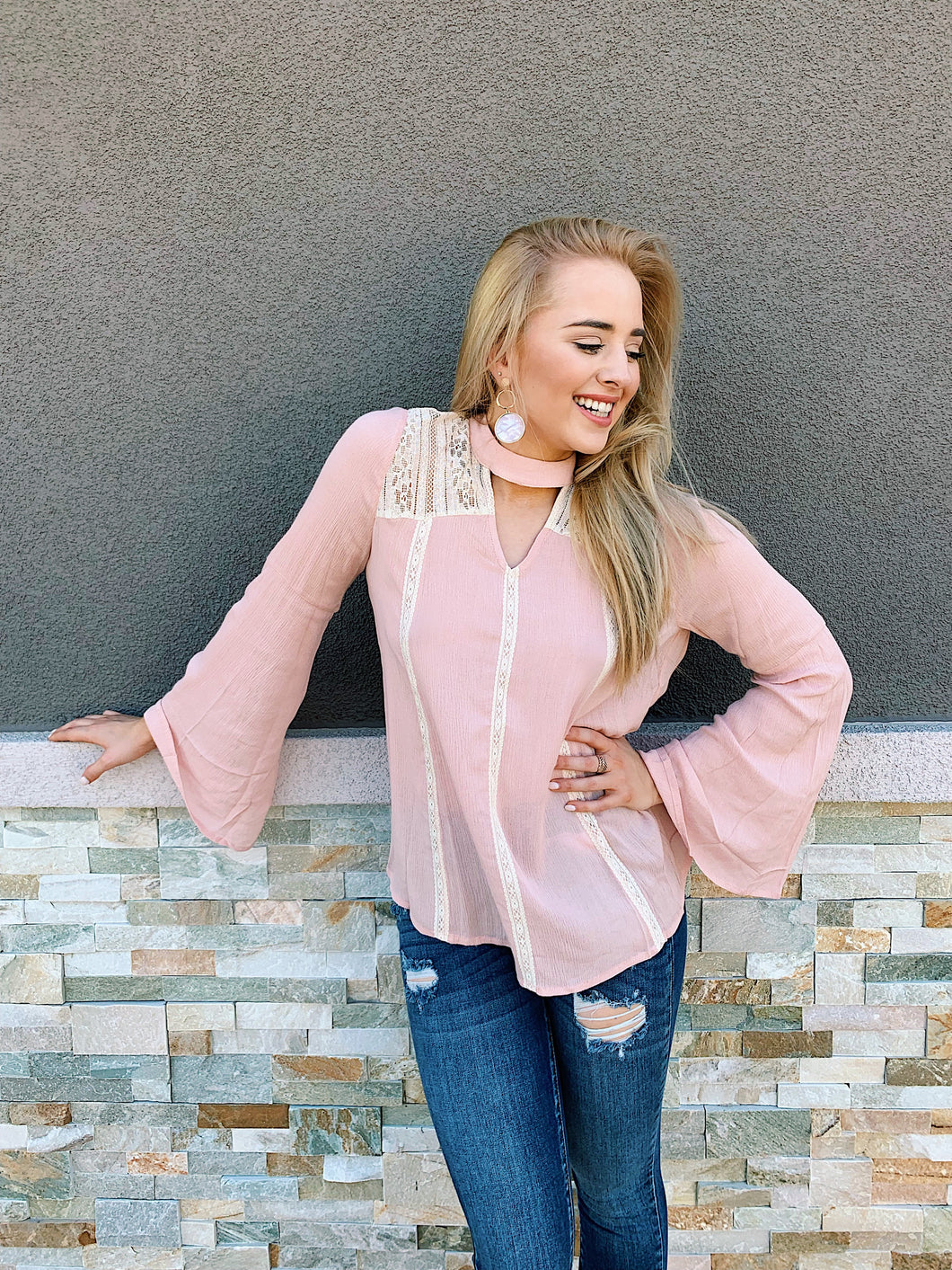 Blushin' In Lace - Long Sleeve Blouse