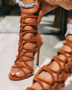 Chestnut Corset Lace Up Heels