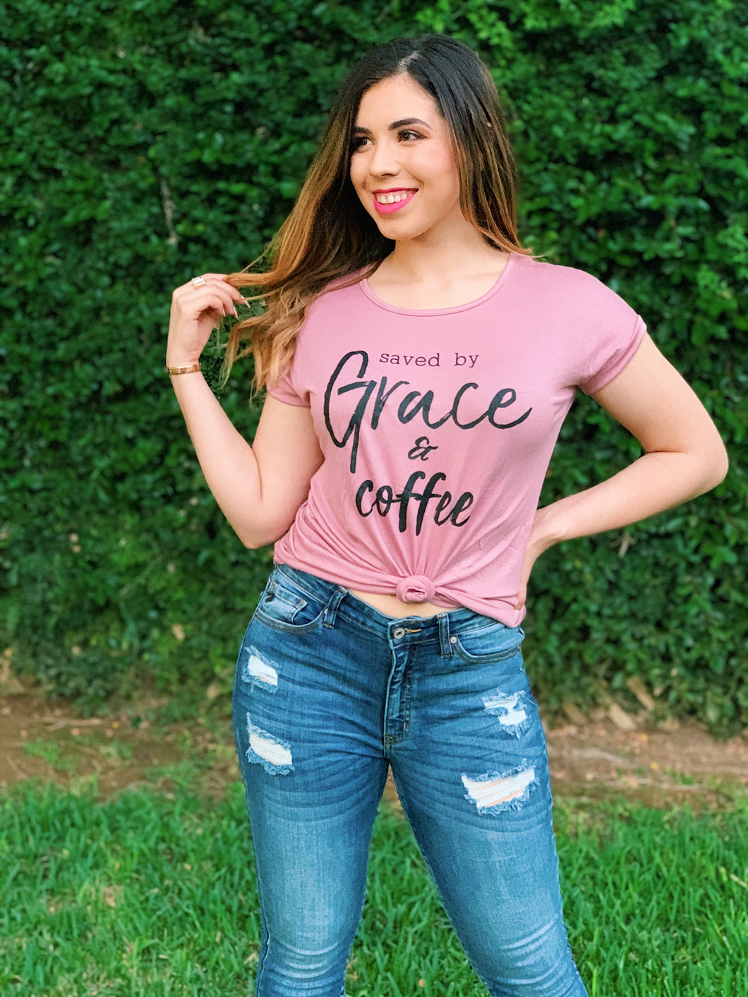 Saved by Grace & Coffee - Graphic Tee