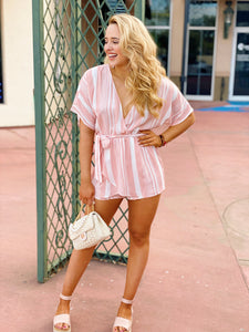 Stripe Down In Blush - Romper