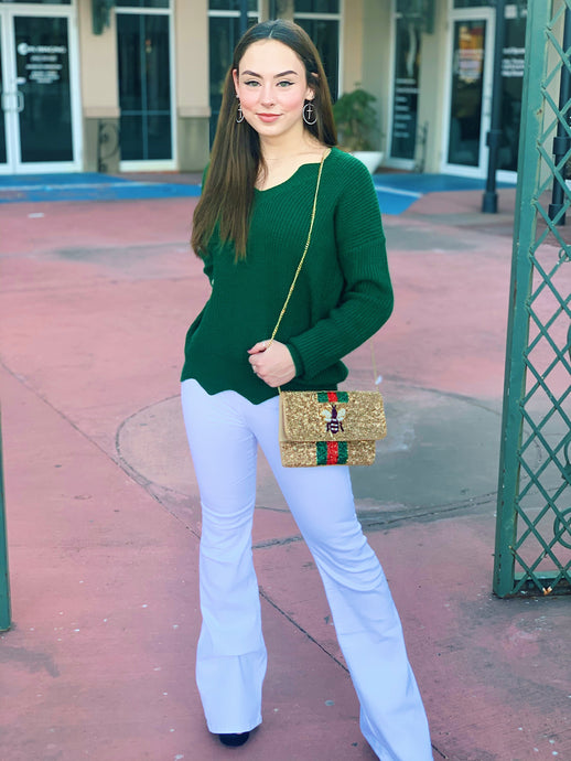 Green Scalloped Sweater