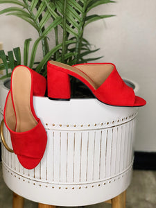 Red Suede One Band Slide Heels