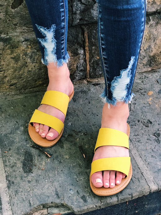 Yellow Double Strap Sandals
