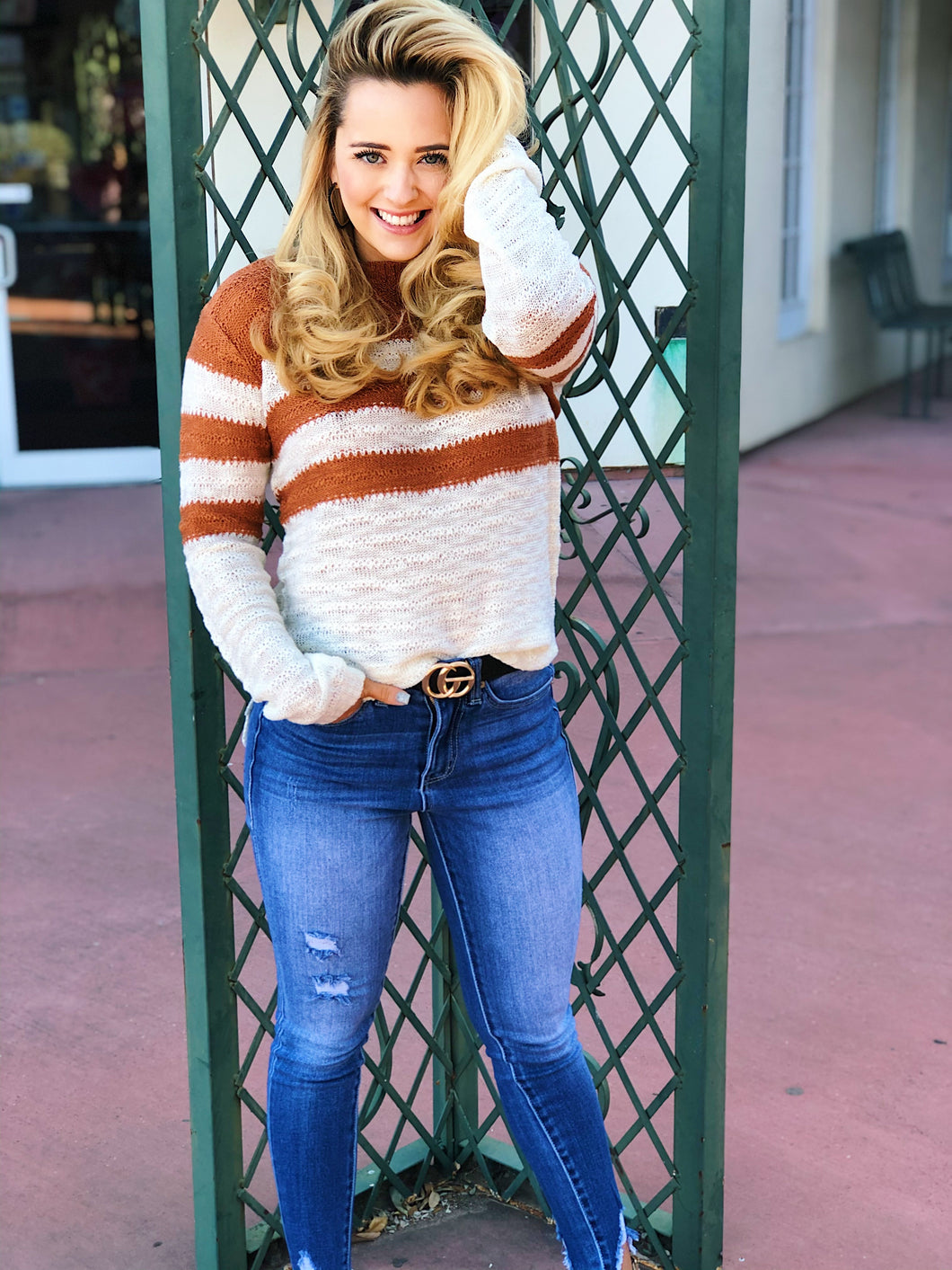 Stripe Knit Mocha Top