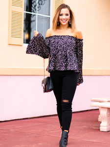 Let's Flare Out In Black - Satin Blouse