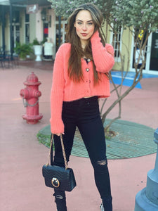 Salmon Crop Sweater