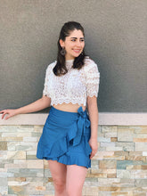 Load image into Gallery viewer, Chambray + Denim Skirt
