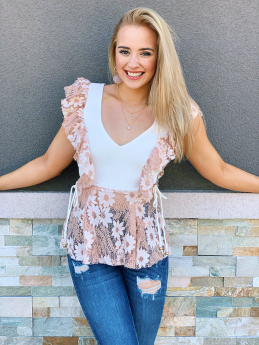 Floral In Taupe Blouse