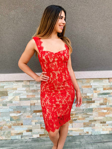 Red Scoop Neck Lace Midi Dress