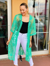 Load image into Gallery viewer, Mint & Lace Long Body Kimono