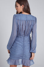 Load image into Gallery viewer, Dusty Blue Shirring Long Sleeve Dress