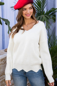 Off White Scalloped Sweater