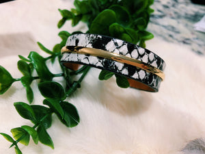 Faux Leather Snake Print Cuff