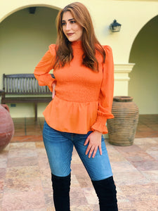 Pumpkin Orange Fall Feels - Smocked Top