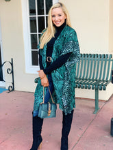 Load image into Gallery viewer, Snake Print Kimono - Teal OS