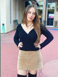 Coffee Date - Black Sweater Top