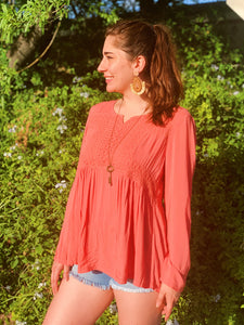 Salmon Scoop Neck - Tunic Top