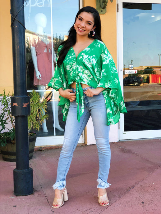 Green Tropical Crop Blouse