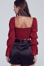 Load image into Gallery viewer, Burgundy Puffy Sleeve Crop Top