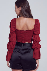 Burgundy Puffy Sleeve Crop Top
