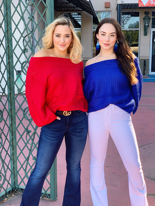 Long Sleeve Off The Shoulder Sweater (2 Colors)