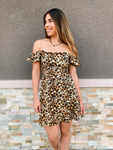 Load image into Gallery viewer, Leopard Puff Sleeve Tunic Dress