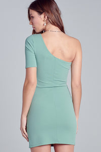 Pistachio One Shoulder Mini Dress