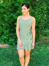 Load image into Gallery viewer, Sage Green Flirty Ruffle Dress