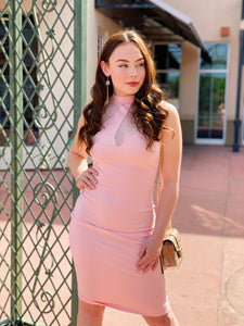 Blush Mesh Bodycon - Midi Dress