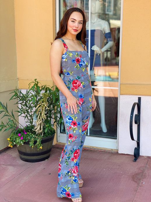 Floral Checkered Jumpsuit In Floral